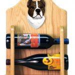 Staffordshire Terr Dog Wood Wine Rack Bottle Holder Figure Brin/Wht 2