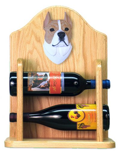 Staffordshire Terr Dog Wood Wine Rack Bottle Holder Figure Fawn/Wht 2