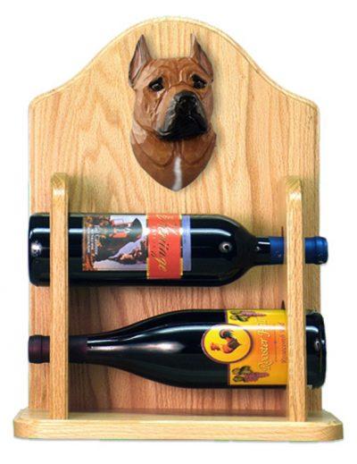 Staffordshire Terr Dog Wood Wine Rack Bottle Holder Figure Red 2