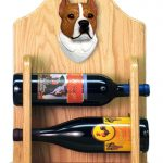 Staffordshire Terr Dog Wood Wine Rack Bottle Holder Figure Red/Wht 2