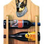Australian Cattle Dog Wood Dog Wood Wine Rack Bottle Holder Figure Blu 2
