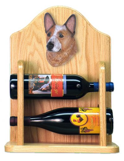 Australian Cattle Dog Wood Dog Wood Wine Rack Bottle Holder Figure Red 2