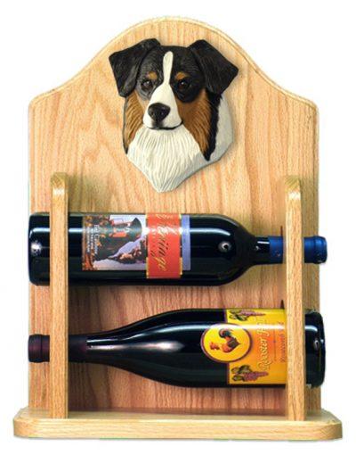 Australian Shepherd Dog Wood Wine Rack Bottle Holder Figure Blk Tri 2