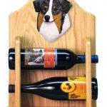 Australian Shepherd Dog Wood Wine Rack Bottle Holder Figure Blu 2