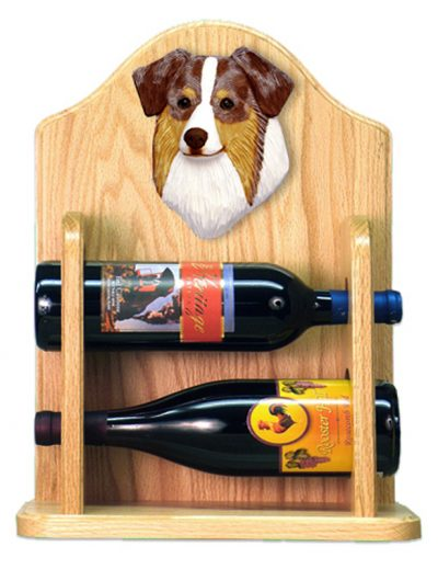 Australian Shepherd Dog Wood Wine Rack Bottle Holder Figure Red 2