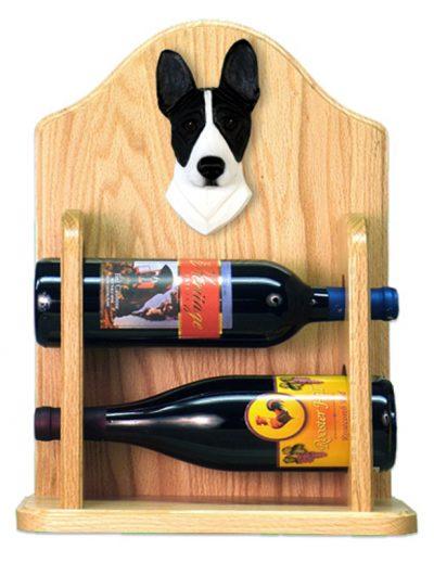 Basenji Dog Wood Wine Rack Bottle Holder Figure Blk/Wht 2