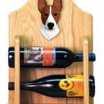 Basenji Dog Wood Wine Rack Bottle Holder Figure Red/Wht 2