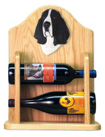 Basset Hound Dog Wood Wine Rack Bottle Holder Figure Blk/Wht 2