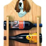 Basset Hound Dog Wood Wine Rack Bottle Holder Figure Red/Wht 2