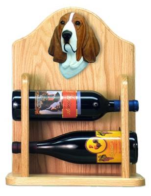 Basset Hound Dog Wood Wine Rack Bottle Holder Figure Red/Wht 2
