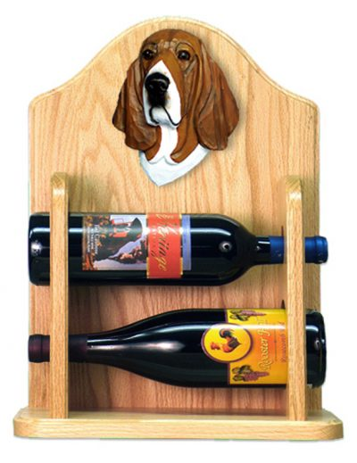 Basset Hound Dog Wood Wine Rack Bottle Holder Figure Tri 2