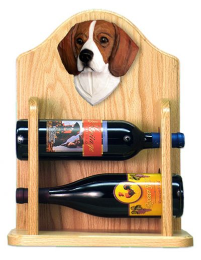 Beagle Dog Wood Wine Rack Bottle Holder Figure Tri 2