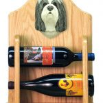 Bearded Collie Dog Wood Wine Rack Bottle Holder Figure Blu/Wht 2