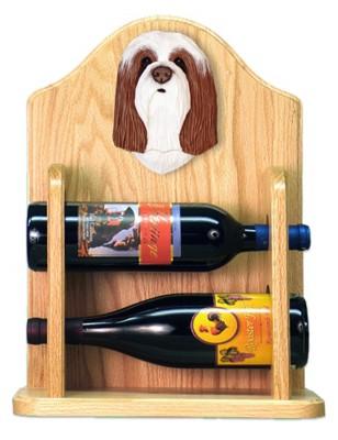 Bearded Collie Dog Wood Wine Rack Bottle Holder Figure Brn/Wht 2