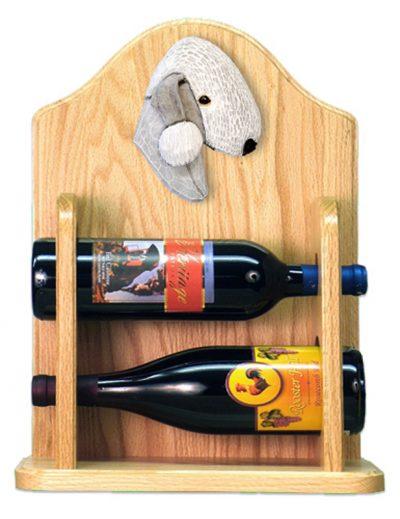 Bedlington Terrier Dog Wood Wine Rack Bottle Holder Figure Blu 2