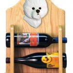 Bichon Frise Dog Wood Wine Rack Bottle Holder Figure 2