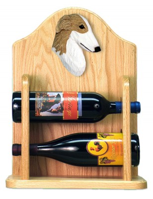 Borzoi Dog Wood Wine Rack Bottle Holder Figure Bi 2