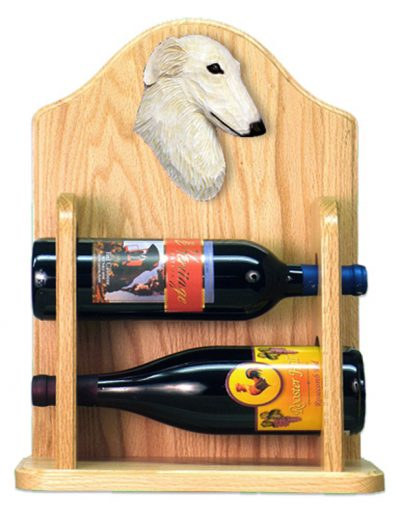 Borzoi Dog Wood Wine Rack Bottle Holder Figure Cream 2