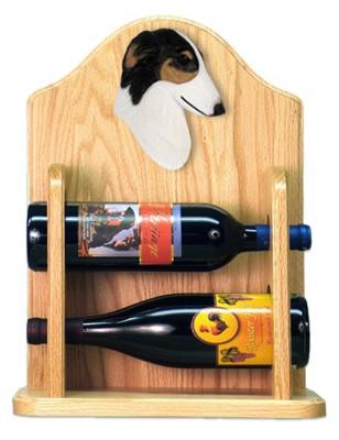 Borzoi Dog Wood Wine Rack Bottle Holder Figure Tri 2
