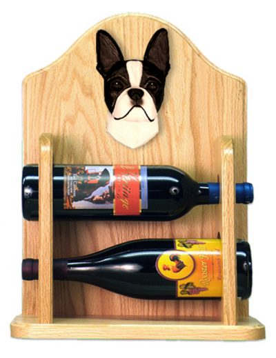 Boston Terrier Dog Wood Wine Rack Bottle Holder Figure Blk 2