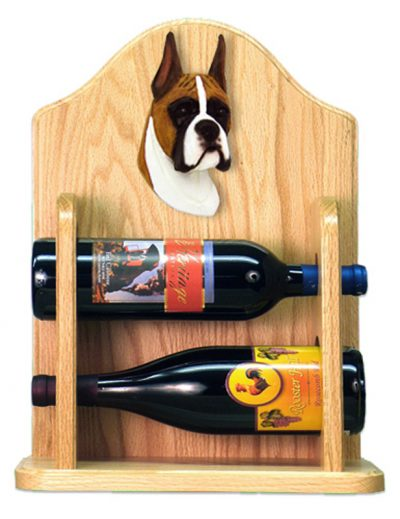 Boxer Dog Wood Wine Rack Bottle Holder Figure Fawn 2