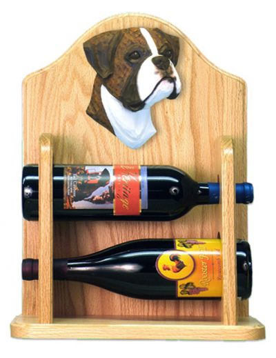 Boxer natural Dog Wood Wine Rack Bottle Holder Figure Brin 2