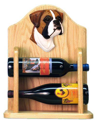 Boxer natural Dog Wood Wine Rack Bottle Holder Figure Fawn 2