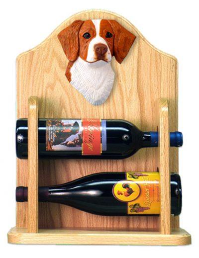Brittany Dog Wood Wine Rack Bottle Holder Figure Orange 2
