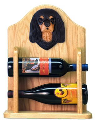 Cavalier Charles Dog Wood Wine Rack Bottle Holder Figure Blk/Tan 2