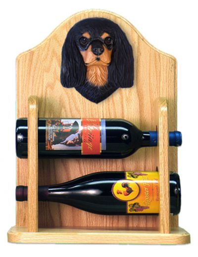 Cavalier Charles Dog Wood Wine Rack Bottle Holder Figure Blk/Tan 2