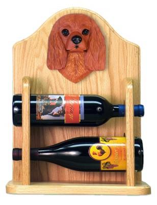 Cavalier Charles Dog Wood Wine Rack Bottle Holder Figure Ruby 2
