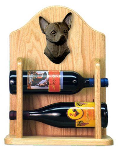 Chihuahua Dog Wood Wine Rack Bottle Holder Figure Blk 2