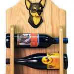 Chihuahua Dog Wood Wine Rack Bottle Holder Figure Blk/Tan 2