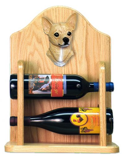 Chihuahua Dog Wood Wine Rack Bottle Holder Figure Fawn 2