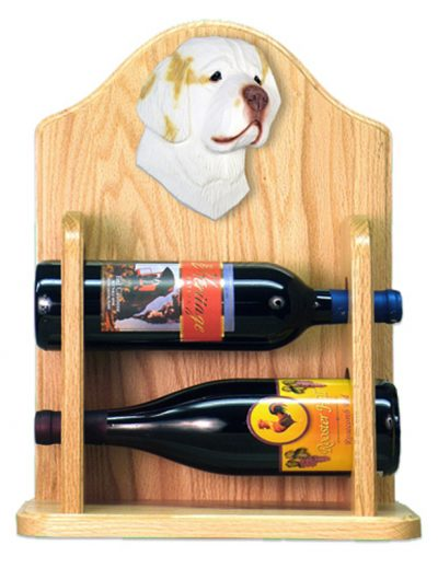 Clumber Spaniel Dog Wood Wine Rack Bottle Holder Figure Lemon 2