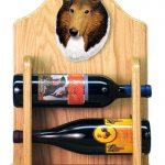 Collie Dog Wood Wine Rack Bottle Holder Figure Sable 2