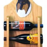 Collie Dog Wood Wine Rack Bottle Holder Figure Tri 2