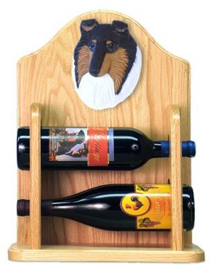 Collie Dog Wood Wine Rack Bottle Holder Figure Tri 2