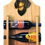 Dachshund Dog Wood Wine Rack Bottle Holder Figure Blk/Tan 2