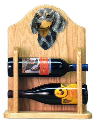 Dachshund Dog Wood Wine Rack Bottle Holder Figure Blu 2