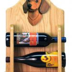 Dachshund Dog Wood Wine Rack Bottle Holder Figure Red 2