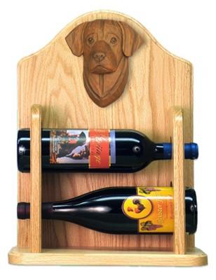 Chocolate Lab Dog Wood Wine Rack Bottle Holder Figure 2