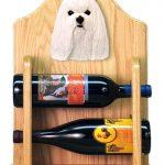 Maltese Dog Wood Wine Rack Bottle Holder Figure 2
