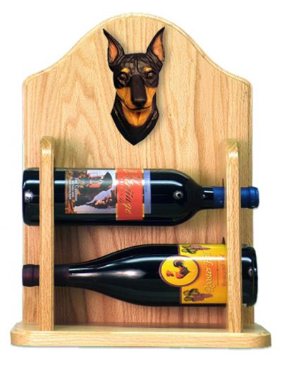 Miniature Pinscher Dog Wood Wine Rack Bottle Holder Figure Blk/Tan 2