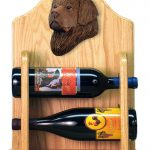 Newfoundland Dog Wood Wine Rack Bottle Holder Figure Brn 2
