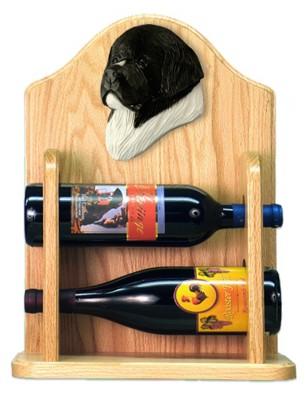 Newfoundland Dog Wood Wine Rack Bottle Holder Figure Landseer 2