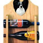 Papillon Dog Wood Wine Rack Bottle Holder Figure Blk/Wht 2