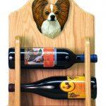 Papillon Dog Wood Wine Rack Bottle Holder Figure Brn/Wht 2