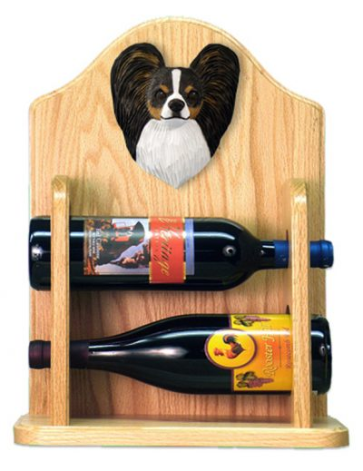 Papillon Dog Wood Wine Rack Bottle Holder Figure Tri 2