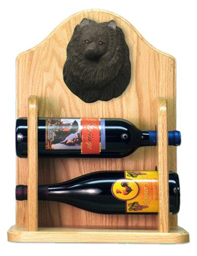 Pomeranian Dog Wood Wine Rack Bottle Holder Figure Blk 2